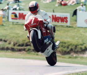 Mike Hose wheelies the RGB Wasp over the Cadwell Mountain